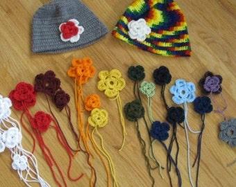 Handmade Crochet beanie hats with optional flower applique