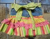Colorful Ruffled Skirt on Upcycled Denim Shorts