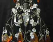 Colored glass and Iron Crystal Chandelier