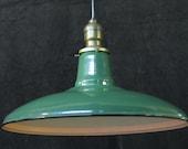 Teens Vintage Green Enamel Kitchen Gas Station Light Three Available