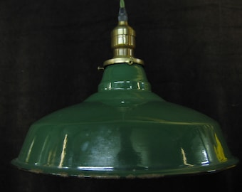 One Green Enamel Tin Shade on Green Cloth Cord Gas Station Kitchen Light