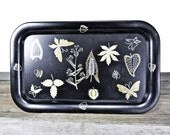 Classic Black Tin Tray With Nature Theme