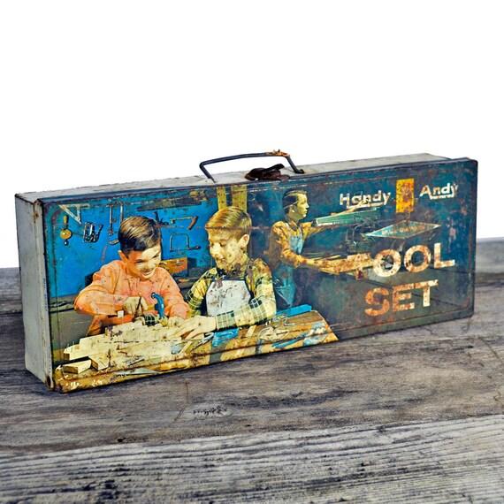 Vintage 1950's Handy Andy Tool metal case