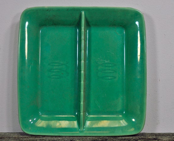 Vintage Stangl Toastmaster Green Divided Relish Tray Dish Triple Loop USA NoTax