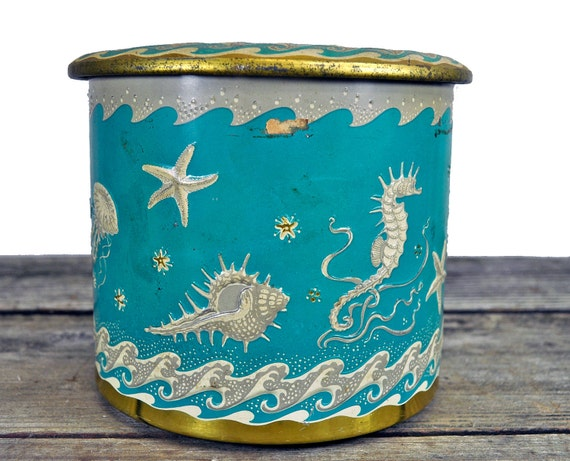 Antique Turquoise Embossed Raised Sea Ocean Decor