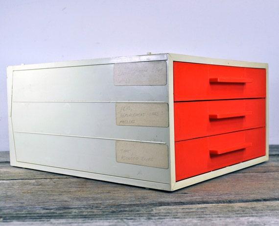 Retro 3 Drawer Plastic File Paper Organizer Cabinet Orange