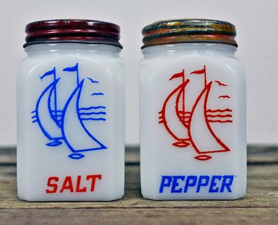 Vintage Milk Glass Red Sailboat Salt & Pepper Shakers