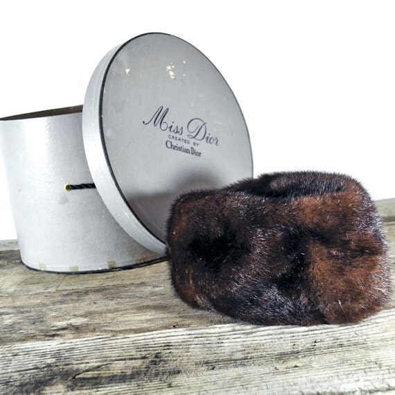 Christian Dior Hat mink hat and original hatbox