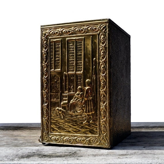 Brass Umbrella Stand Embossed: Vintage Brass Repousse Tall Umbrella Stand By Upscaleyardsale