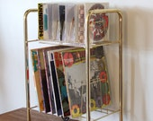 Vintage 1960s Industrial Metal Record Album Rolling Rack