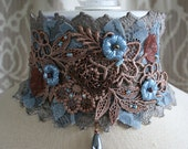 From the Gilded Dragonfly -MYSTIQUE- ooak tattered lace choker with hand sewn embellishments