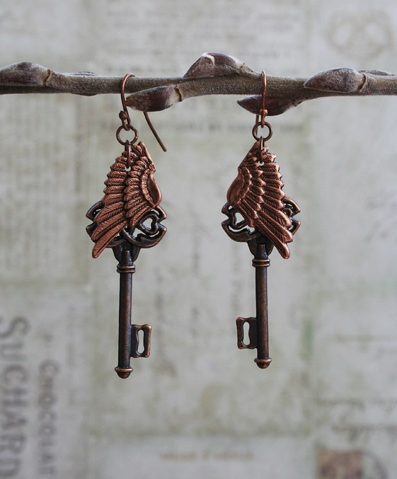 From the Gilded Dragonfly -STEAMPUNK ANGEL- copper skeleton key and angel wing earrings