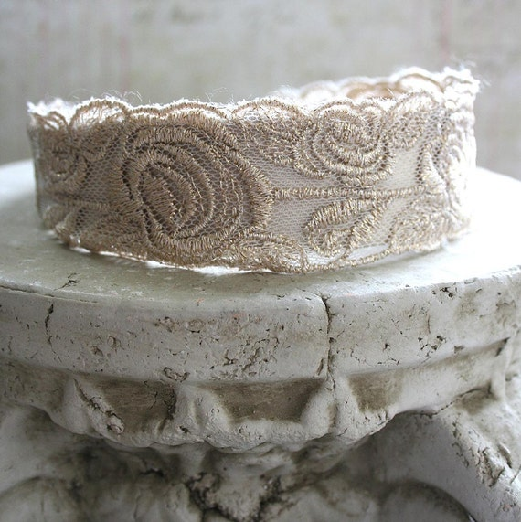 From the Gilded Dragonfly -GILDED ROSES- vintage lace headband in pale antiqued gold