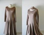 I wanna' go Dancing--amazing 1970s knit drop waist rhinestone embellished full gore swing skirt dress with long scarf