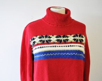 Liz Claiborne Crazy Horse 70s sweater-1970s turtle neck sweater--Folk Knit