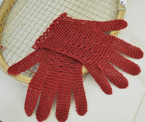 vintage crochet burgandy red wine colored gloves--treasury item