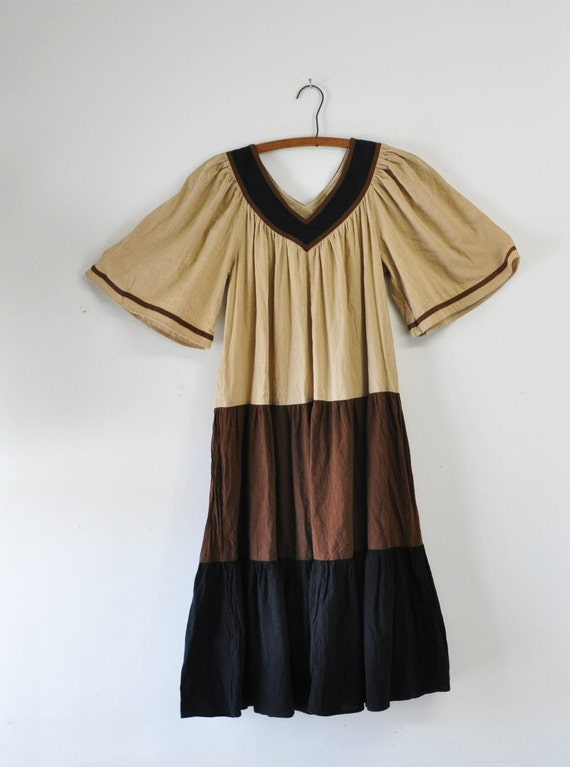 60s vintage/ Earthen Tiered comfy Dress
