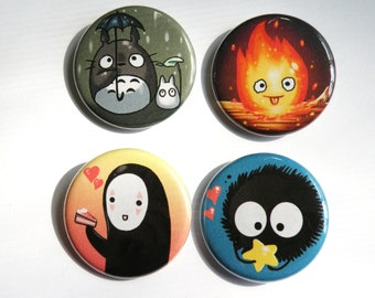 Ghibli 1.25 inch buttons, totoro, calcifer, noface, soot sprite, anime, geek,