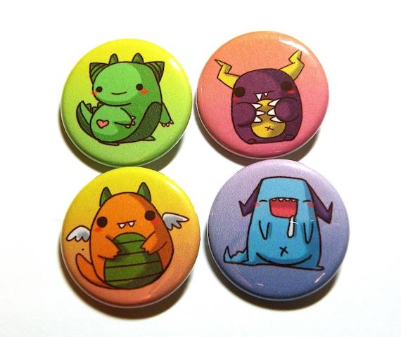 chibi monster buttons