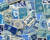 GRAB BAG - Assorted Blues - Vintage un-used postage stamps - to post 5 letters - or use in scrapbooking or craft projects