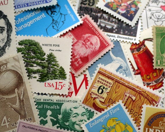GRAB BAG - Assorted Vintage unused postage stamps - to post 5 letters