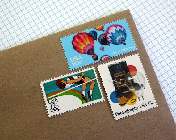 Vintage un-used - Photographing Summer Olympics and Bright Balloons - postage stamps to post 5 letters