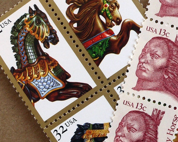 Vintage un-used - Crazy Horses - postage stamps to post 5 letters or use in your crafting projects