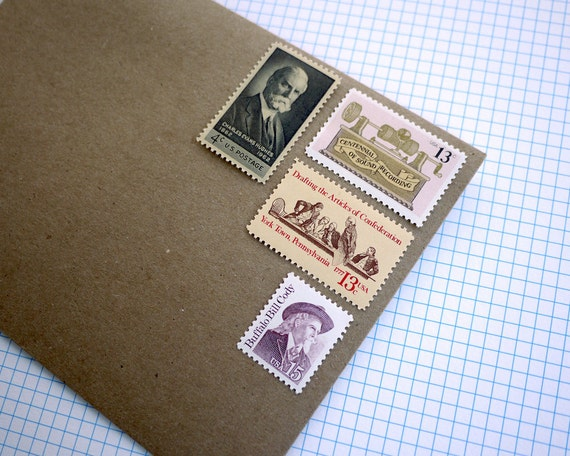 Vintage un-used - Muted Yellow and Peach collection - postage stamps to post 5 letters