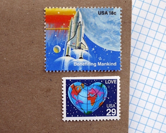 Vintage unused - Out Of This World LOVE - postage stamps to post 5 letters or use in scrapbooking and crafts