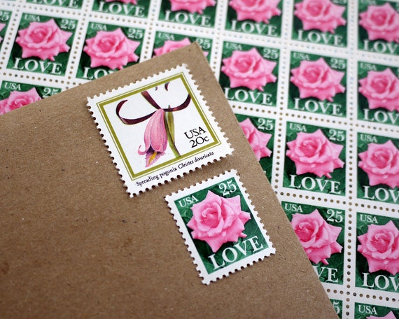 Vintage un-used Pink Botanical LOVE postage stamps to post 5 letters