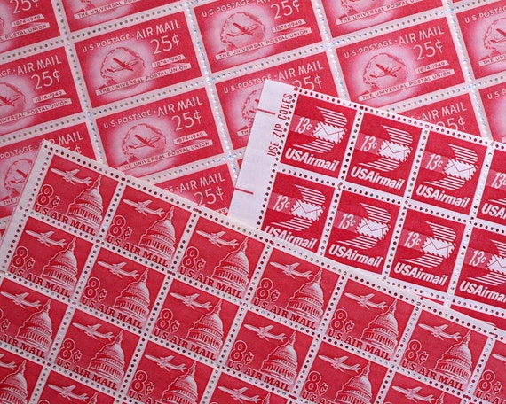 Vintage unused - Red Airmail B - postage stamps to post 5 first class letters