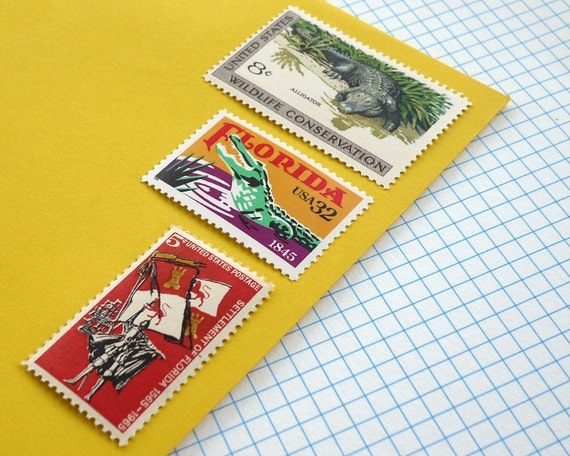 Vintage un-used - Florida Gators - postage stamps to post 5 letters or use in craft projects