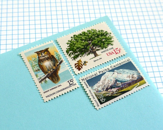 Vintage un-used - Back to Nature - postage stamps to post 5 letters