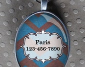 Pet iD tag oval CAT ID small breed Dog Tag Cat Tag by California Kitties blue and grey zig zag UTO5559