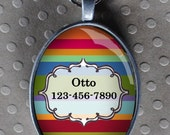 Pet iD tag oval CAT ID small breed Dog Tag Cat Tag by California Kitties colored stripes ID UTO9045