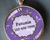 Pet iD tag one inch round CAT ID small breed Dog Tag Cat Tag by California Kitties purple round ID CT2227