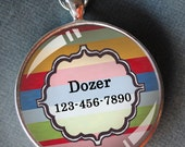 Pet iD tag one inch round CAT ID small breed Dog Tag Dog tag Cat Tag by California Kitties bright color round ID CT2052