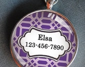 Pet iD tag one inch round CAT ID small breed Dog Tag Dog Tag Cat Tag by California Kitties bright purple and white lattice round ID CT2060