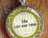 Pet iD tag one inch round CAT ID small breed Dog Tag Dog Tag Cat Tag by California Kitties mustard yellow and white lattice round ID CT3128