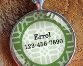 Pet iD tag one inch round CAT ID small breed Dog Tag Dog Tag Cat Tag by California Kitties green and white lattice round ID CT6363