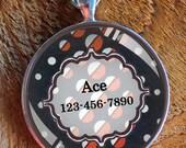 Pet iD tag one inch round CAT ID small breed Dog Tag Dog tag Cat Tag by California Kitties dark blue round ID CT6645