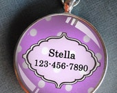 Pet iD tag one inch round CAT ID small breed Dog Tag Dog tag Cat Tag by California Kitties pink and white polka dot round ID CT2245