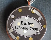 Pet iD tag one inch round CAT ID small breed Dog Tag Dog tag Cat Tag by California Kitties grey and yellow polka dot round ID CT8345