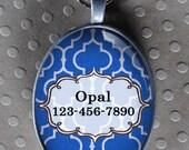 Pet iD tag oval CAT ID small breed Dog Tag Cat Tag by California Kitties Blue dog ID OTE2277