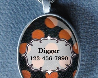 Pet iD tag oval CAT ID small breed Dog Tag by California Kitties Orange and Black Oval ID UTO7792