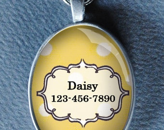 Pet iD tag oval CAT ID small breed Dog Tag by California Kitties Yellow and white Oval ID