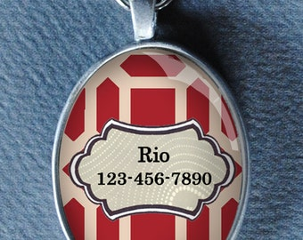 Pet iD tag oval CAT ID small breed Dog Tag by California Kitties deep red and cream retro cat tag Oval ID UTO9090