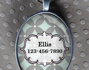 Pet iD tag oval CAT ID small breed Dog Tag by California Kitties light blue and grey UTO2260