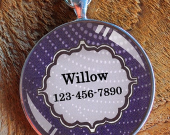 Pet iD tag one inch round CAT ID small breed Dog Tag Dog tag Cat Tag by California Kitties bright purple round ID CT3740