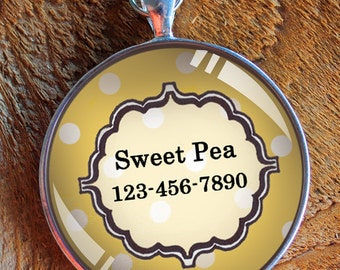 Pet iD tag one inch round CAT ID small breed Dog Tag Dog tag Cat Tag by California Kitties yellow round ID CT3045